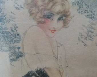 Old Antique Louis Icart Print Le Bonnet Bleu in Original Wood Picture Frame