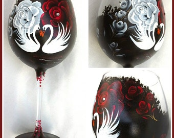 Hand painted wine glass with swans and roses .hand painted goblet, handpainted glasses, handpainted wine  glasses, personalised  glass