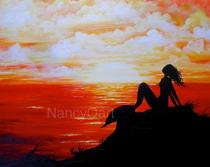 Mermaid silhouette wall art, sunset mermaid painting, sunset ocean art, Original artwork done by Nancy Quiaoit at NancyQart
