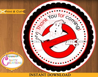INSTANT DOWNLOAD - Ghostbusters Labels - Printable Thank You Favor Sticker -ghostbusters Favor Tag - Ghostbusters Birthday Party Decorations