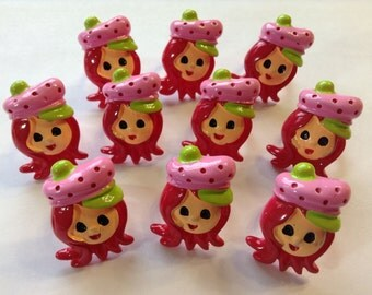 Strawberry Shortcake Childrens Rings Party Favors Cupcake Toppers Lot of 10