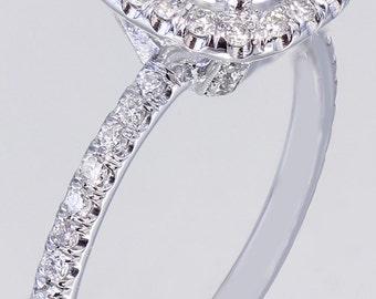 EGL USA G-SI1 18K White Gold Round Cut Diamond Engagement Ring Halo Prong 2.15ct
