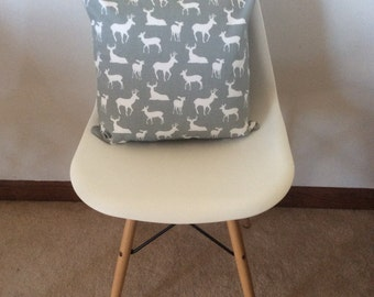 Grey and white deer pillow cover