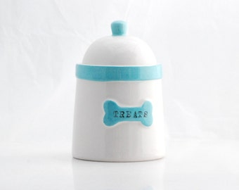 Pet treat jar, ceramic treat canister