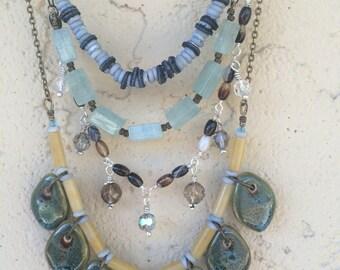 Multi Strand Layered Boho Necklace, Beaded Bib Necklace