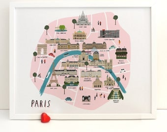 Paris map illustrated print
