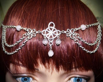 Witches Knot Headdress with Rose Quartz - Handmade Gemstone Pagan Jewellery for Wicca, Witch, Ritual