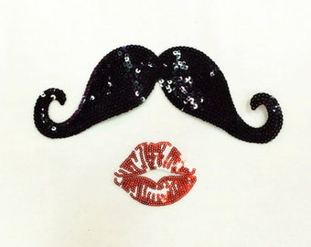 mustache with kiss sequined applique patch Sew on patch Dress supplies patch