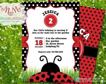Ladybug Invitation, Ladybug birthday invitation, Garden party invitation, garden, ladybug