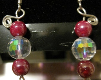 Dark pink and opalescent crystal bead earrings