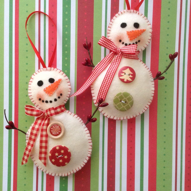Christmas snowman ornaments handmade felt christmas for Best handmade christmas ornaments