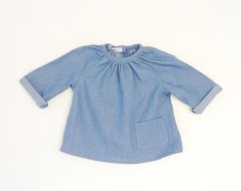 Chambray long sleeve blouse