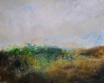 Original acrylic abstract landscape painting//I think it's all right now // expressive, atmospheric, modern art