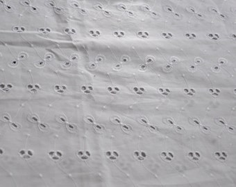 """BY THE YARD 15"""" wide - Ready to ship! White Eyelet Lace/Fabric 4 yards available*"""