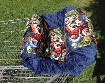 Shopping Cart Cover- Monsters and Navy Blue