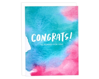 Congrats Card, Congratulations Card, Card Congrats, Watercolor Congrats Card, Watercolor Card, So Pumped For You Card, You Did It Card