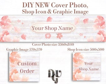 DIY Etsy Cover Photo DIY Etsy Shop Icon & Graphic Image (Custom Order, Thank you.. ),  New Etsy Banner Instand Download #B_001 Peach Flowers