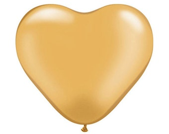 10 x MINI GOLD HEART Balloons  - Set of 10 Gold Mini Heart Balloons (15cm / 6 Inches)