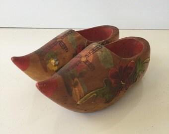 Vintage Tiny Dutch Wooden Shoes Holland Souvenir