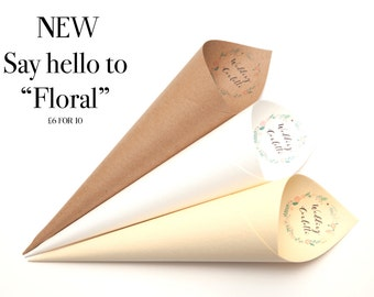 Floral Confetti cones Pack of 5 non personalised