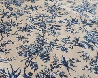 """Toile de birds fabric 280 cm/ 110"""" wide Blue"""
