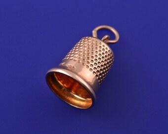 9ct Yellow Gold Vintage Thimble Charm (764r)