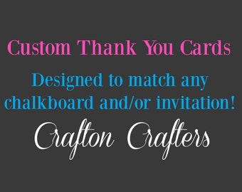 Custom Thank You Cards - Add On Item - Matching Thank You Card - Matching Invitation Available - Any Party Theme - Personalized Thank You