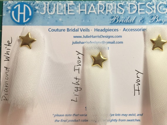 Swatch card - Three Shades of Ivory Illusion Tulle