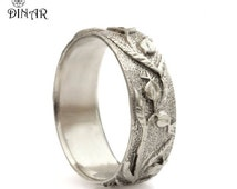 Silver wedding band, woodland wedding ring, Pomegranate Texture ring, sterling silver band, women's silver band, hand engraved vine leaf