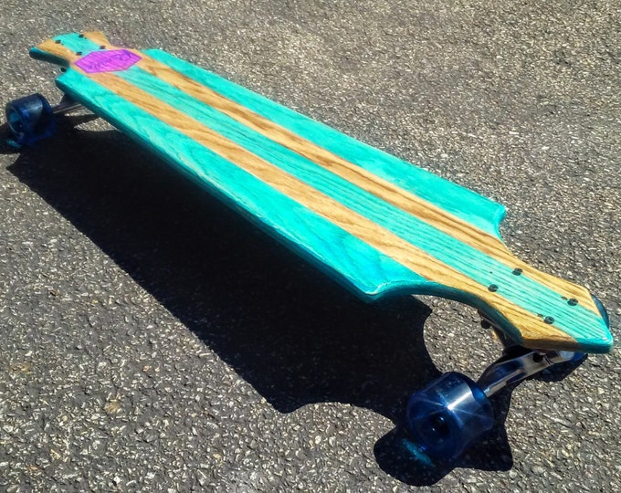 Transit Cutaway Vintage Inspired Longboard Skateboard - Turquoise w Golden Racer Stripes Complete w Trucks and Wheels
