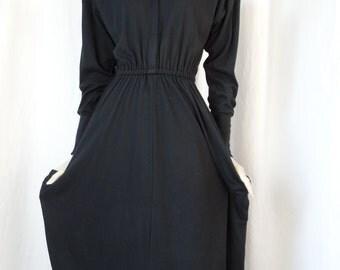 80s Norma Kamali stretch  jersey GYM dress/ power shoulder pads/ Locker Room Chic: size Medium