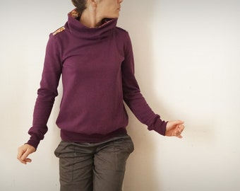 Plum organic Sweatshirt double Japanese cotton Turtleneck