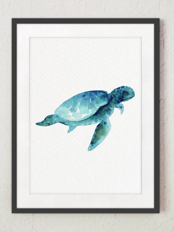 Sea Turtle Wall Art sea turtle wall art print giclee watercolour painting