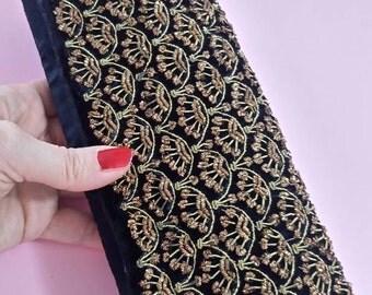 Vintage clutch bag black velvet gold thread embroidered evening bag purse 1960's