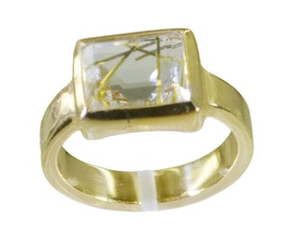 Gold Plated Ring,Multi Ring,Rutile Quartz CZ Multi Ring,smoky quartz stone,minimalist jewelry,love bracelet