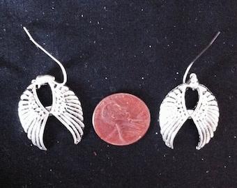 Silver Wing Earrings, Double Wing Earrings, Pair of Wings, Winged Jewelry