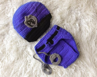 SALE..Ready to Ship, Newborn Baby Police Outfit, Hat and diaper cover with handcuffs, Crochet,. Coming Home Outfit, Baby Shower GIft.