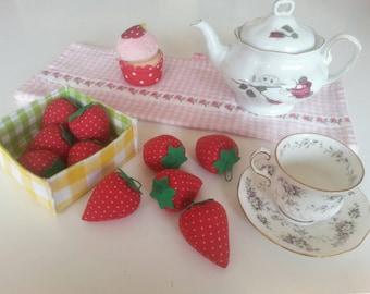 Ten fabric strawberries  Waldorf play