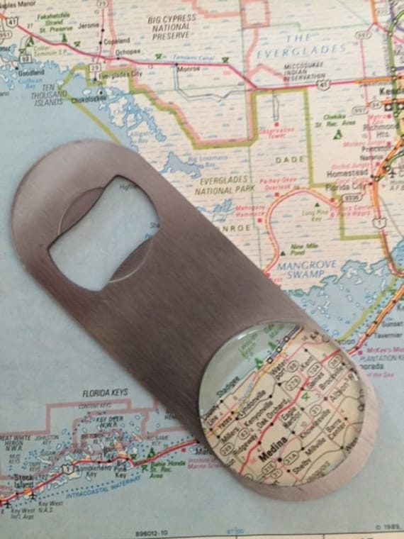 create your own vintage map bottle opener. Black Bedroom Furniture Sets. Home Design Ideas