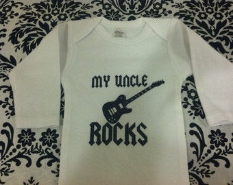 my uncle rocks cool guitar long sleeve baby bodysuit new blue black pink white size and color choice