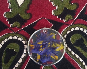 Purple and Yellow Flower Petal Pendant