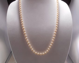 Vintage Hand Knotted Lustrous Pearl Necklace 25 inches Long