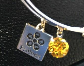 Friendship Swarovski Crystal Expandable Bangle Bracelet