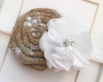 Burlap rustic headband,flower girl headbands,wedding headbands,vintage headband,shabby chic headband,newborn headbands,baby headbands