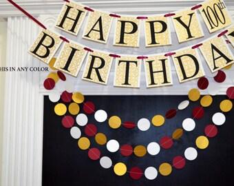 Happy 100th Birthday banner garland adult birthday decor, 70th 80th 90th, 100th birthday party decorations, gold birthday