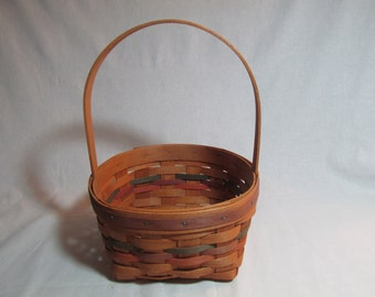 Longaberger Shades of Autumn Round basket with stataionary handle 1993
