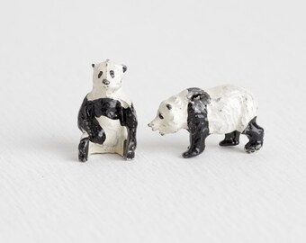 Vintage Pair of Lead Panda Bears, Britains LTD Hollow Cast Metal Animal, Old Painted Figurines