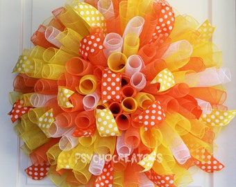 XL Candy Corn Wreath - Curly Spiral Deco Mesh Wreath – Orange Yellow White Fall Halloween Thanksgiving Decor