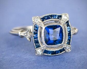 Sapphire and Platinum Engagement Ring