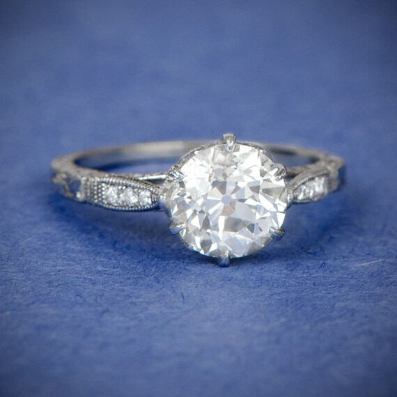 Vintage Style Engagement Ring - Antique Diamond and Estate Ring - Vintage Diamond Solitaire Engagement Rings